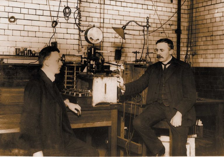 Ernest Rutherford and Hans Geiger in their lab at The University of Manchester, 1908